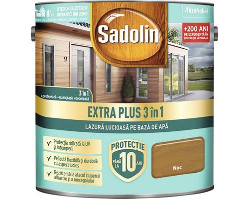 Lazură lucioasă pe bază de apă Sadolin Extra Plus 3 în 1 nuc 2,5 l