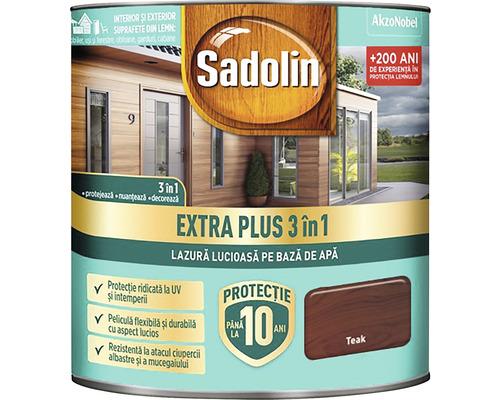 Lazură lucioasă pe bază de apă Sadolin Extra Plus 3 în 1 teak 0,75 l