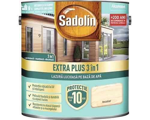 Lazură lucioasă pe bază de apă Sadolin Extra Plus 3 în 1 incoloră 2,5 l