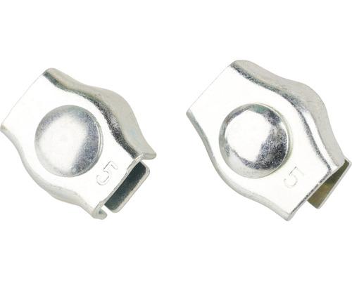 Cleme simple Mamutec 4-6 mm pentru fixat cabluri metalice, pachet 2 bucăți