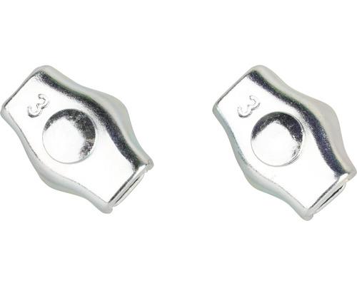 Cleme simple Mamutec 1-3 mm pentru fixat cabluri metalice, pachet 2 bucăți