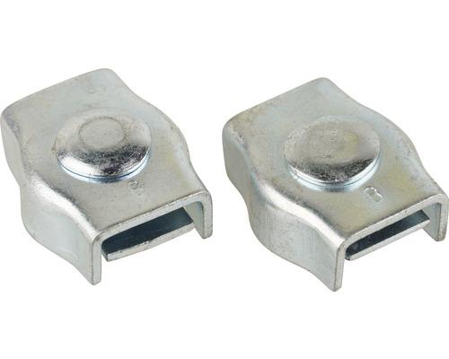 Cleme simple Mamutec 6-8 mm pentru fixat cabluri metalice, pachet 2 bucăți