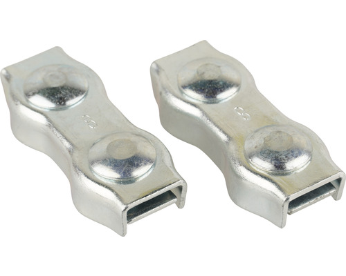 Cleme duble Mamutec 6-8 mm pentru fixat cabluri metalice, pachet 2 bucăți
