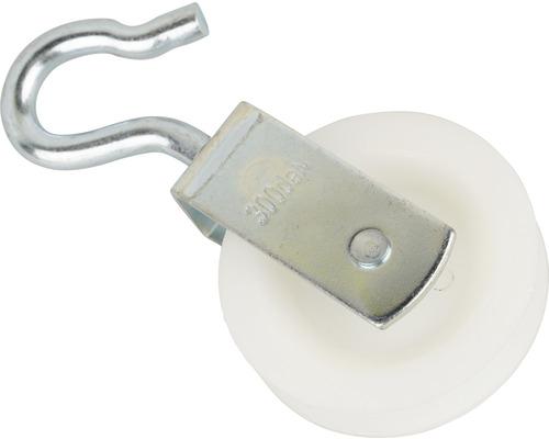 Cârlig cu scripete Mamutec pentru frânghii max. Ø8mm, rolă poliamidă