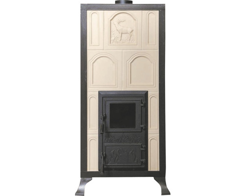Sobă teracotă Premium 4R, pe lemne, 9,8 kW, cu ramă și ușă cu sticlă, 111x50,5x40 cm