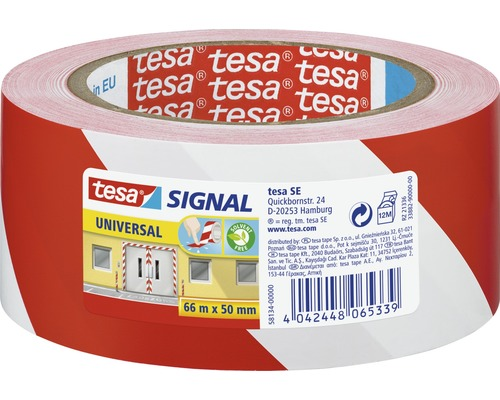 Banda de marcare tesa® Signal alb/rosu 66 m x 55 mm