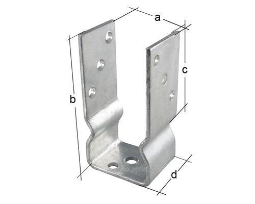 Suport stalp tip U 81x150 mm, zincat, fixare in suruburi