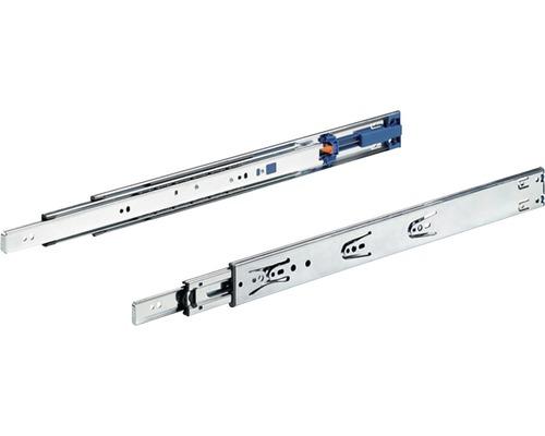 Glisiere tip sina cu bile Hettich KA4532 550mm, max. 35kg, cu amortizor, otel cromat, 1 pereche