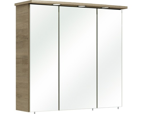Dulap cu oglinda pelipal Bacoli II, 3 usi, iluminare LED, 75x72 cm, stejar Sanremo, IP 44