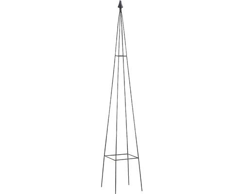 Obelisc pentru plante cataratoare Levin, metal, 20x20x120 cm, negru