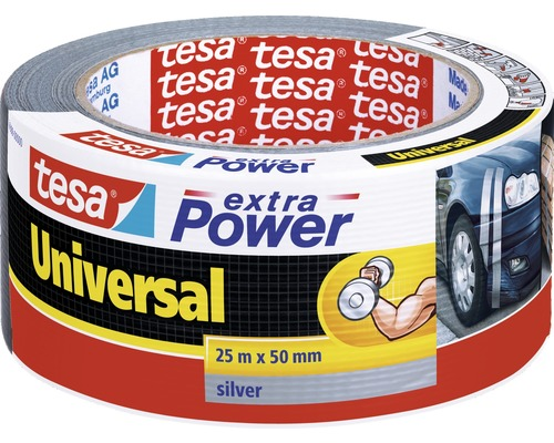 Banda adeziva pentru reparatii tesa extra Power Universal, argintie, 25 m x 50 mm