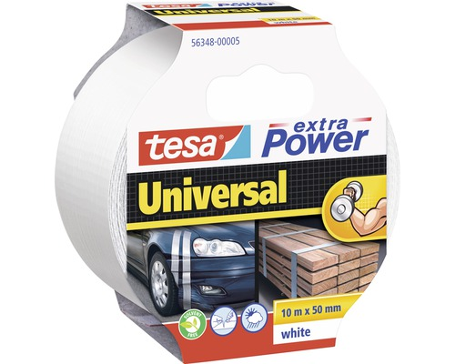 Banda pentru reparatii tesa extra Power Universal, alba 10 m x 50 mm