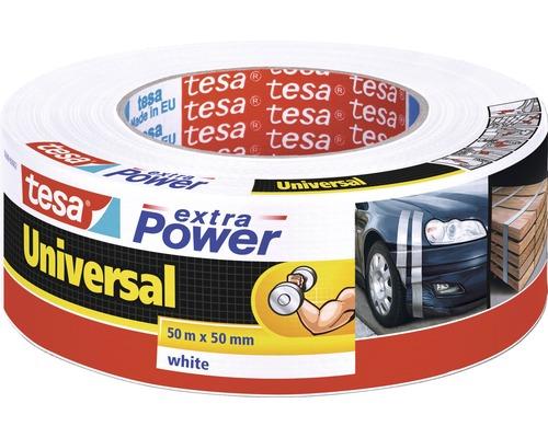 Banda adeziva tesa Universal extra Power alba 50 m x 50 mm