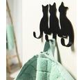 Cuier baie Tiger Cats, 3 agatatori, montaj pe perete, negru