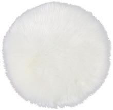 Pernă scaun rotundă din blană artificială, albă Ø 35 cm
