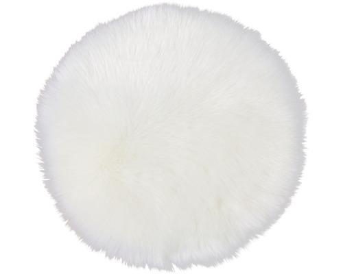 Perna scaun rotunda din blana artificiala, alba Ø 35 cm