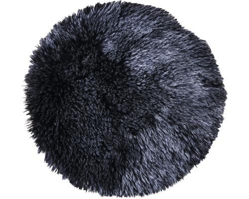Pernă scaun din blană artificială, neagră Ø 35 cm
