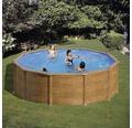 Set piscina cu pereti din otel, imita aspectul de lemn, Ø 240 cm, inaltime 120 cm