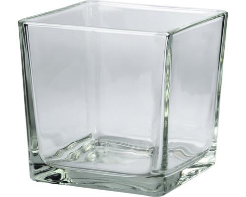 Vaza de flori, sticla Cubic, 12x12x12 cm, transparenta